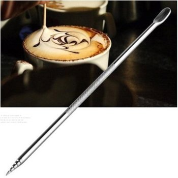 Stainless Steel Coffee Carved Stick Needle DIY Fancy Drawing Needle Cappuccino Flower Pin Crocheted Coffee Art Pen image