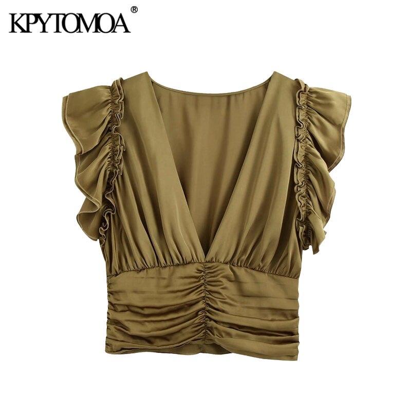 KPYTOMOA Frauen 2020 Mode Mit Kräuselte Gefaltete Cropped Blusen Vintage V Neck Sleeveless Zurück Zipper Weibliche Shirts Chic Tops