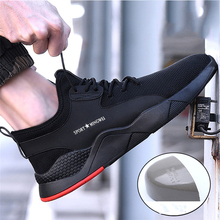все цены на Indestructible Steel Head Safety Shoes Summer Breathable Men's Safety Boots Construction Site Anti-puncture Work Shoes #36-46 онлайн