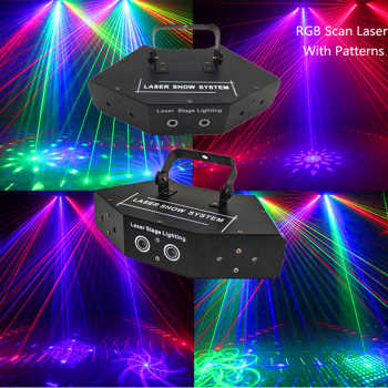 6 Lens RGB Multi Color Scan Laser With Patterns/Beam Pattern Scanner/DJ Disco Party Stage Decor Laser Light/Stage Lighting Laser