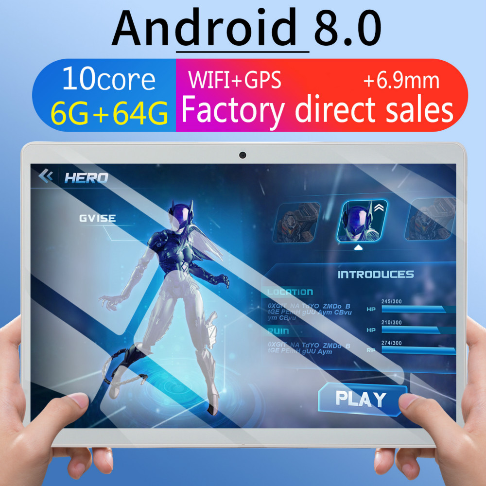 WiFi Tablet PC 10 Inch Ten Core 4G Network Android 8.0 6G+128GB Dual SIM Dual Camera Rear  GPS