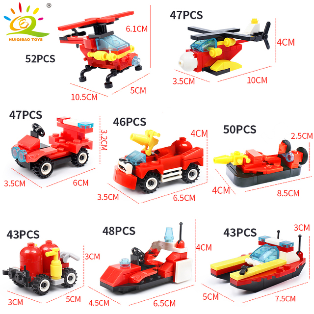 HUIQIBAO 376pcs 8in1 Fire fighting Building Blocks City Truck Firefighter Helicopter Boat Educational model Bricks children Toys