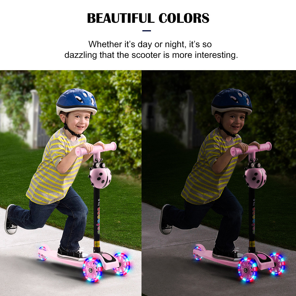 Child Scooter 3 Wheels Folding Foot Scooters LED Shine Balance Bike Adjustable Height Skateboard Kick Scooter For Kids Sport Toy 3