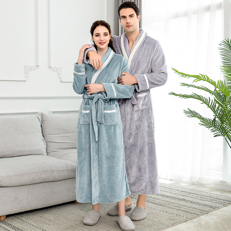 Hot Sale  Warm Flannel Long Kimono Bath Robe Women Plus Size Bathrobe Winter Dressing Gown Bridesmaid Robes Wedding