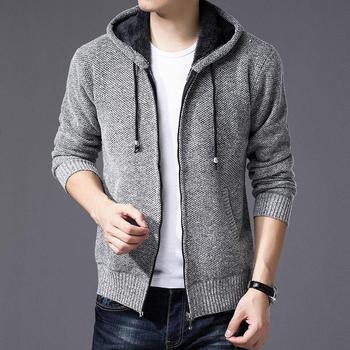 OLOEY 2018 New Winter Brand Clothing Men's Jackets Thick Cardigan Coats Male Patchwork Stripe knitted Zipper Coat