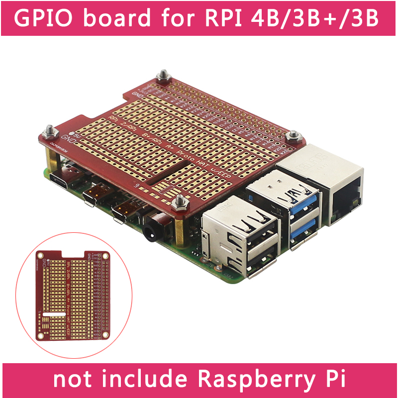 DIY Proto HAT Shield Extension Board For Raspberry Pi 4 Model B / 3B+ / 3B Red RPI GPIO Board  For