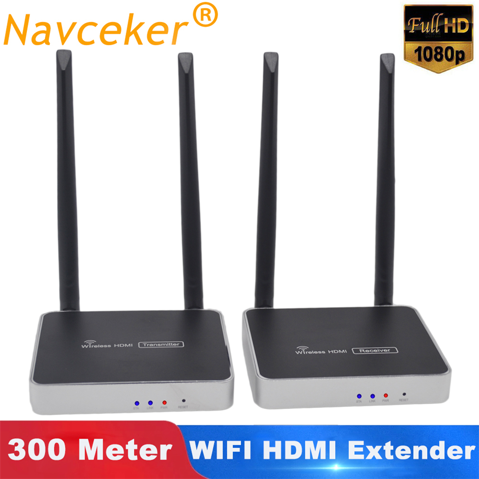 Receptor transmisor HDMI inalámbrico de 300m (984ft) con Control remoto IR soporte extensor inalámbrico HDMI receptor emisor WIFI de 1080P