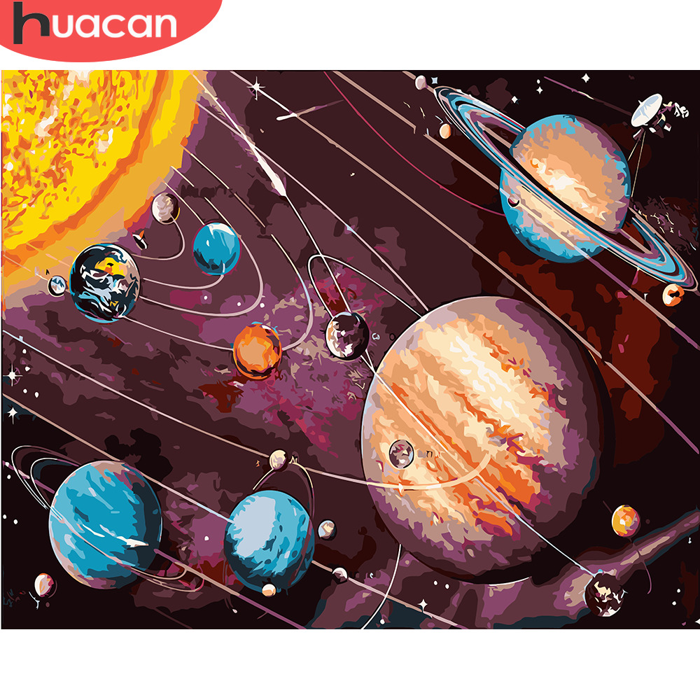 HUACAN Painting By Numbers Sky Scenery DIY Oil Pictures Planet Landscape Kits Drawing Canvas HandPainted Home Decor Gift