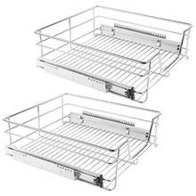 2x Telescopic drawer Kitchen drawer Sliding drawer for 60 cm cupboard Storage Baskets