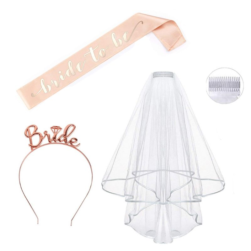 3Pcs/Set Bachelorette Hen Night Party Decoration Rose Gold Kit Wedding Veil With Comb Sash Headband Tiara Bridal Shower Supplies