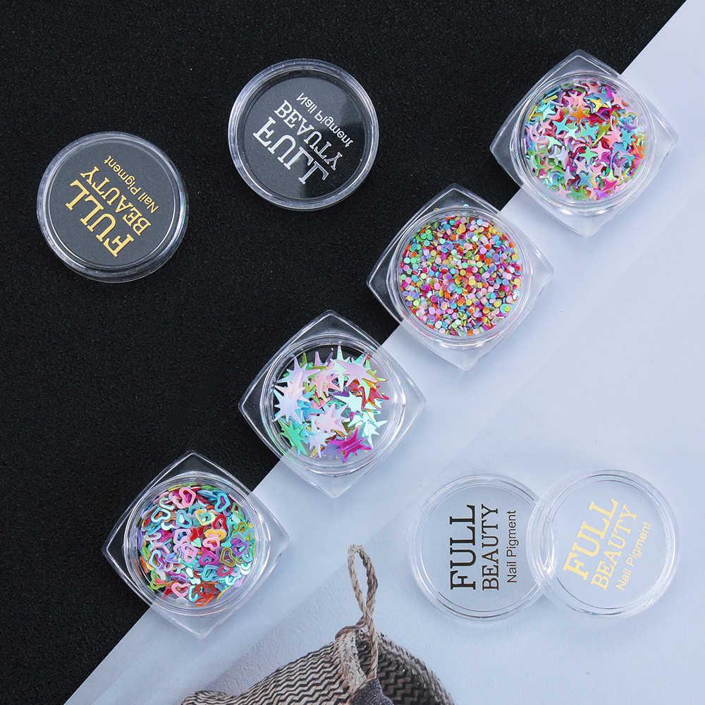 Professionale Glitter Artigianali star Paillettes Paillettes 3D FAI DA TE Tip Manicure Unghie artistiche Decor Stili Della Miscela di Amore Del Cuore di Colori Del Chiodo Paillettes