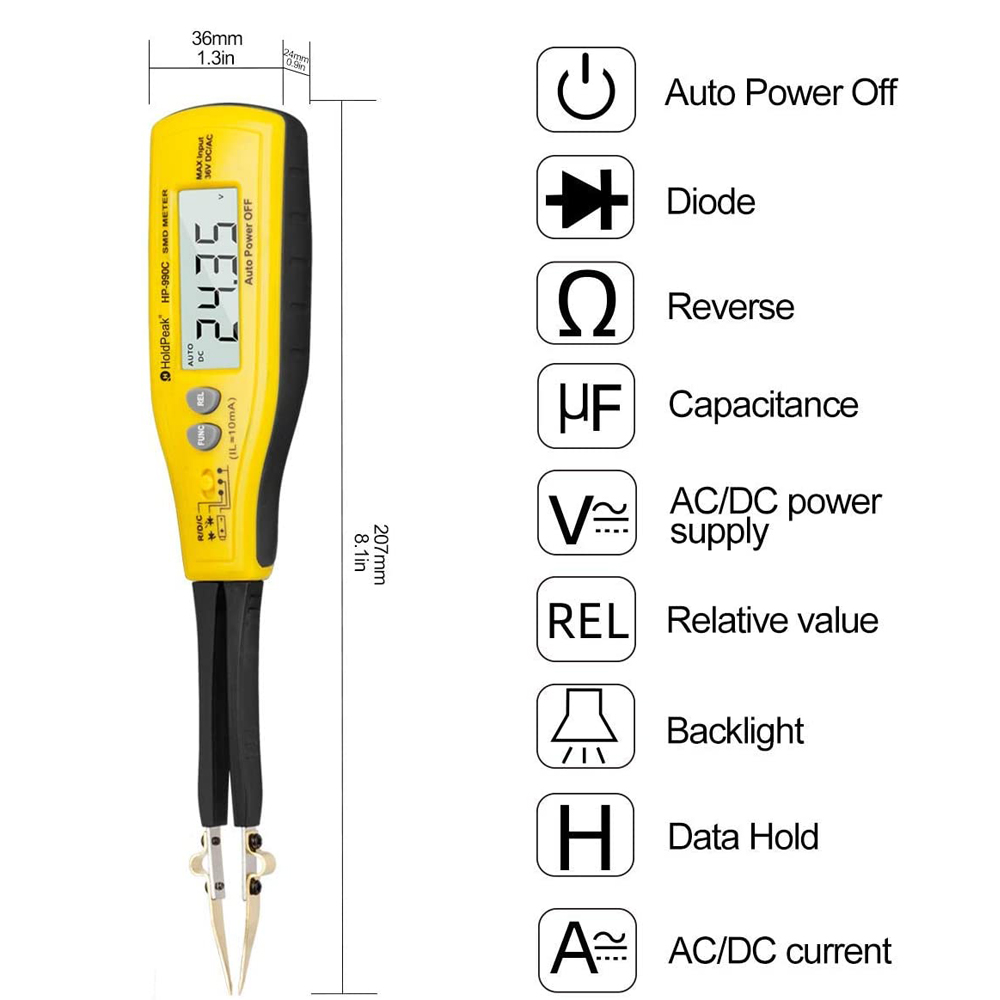 990C Digital SMD Tester Capacitance Meter for Diode Capacitance Resistance Tweezers Meter Battery Tester with Spare Test Pin