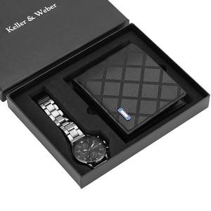 Image 1 - Business Mannen Horloges Roestvrij Stalen Band Mannen Quartz Horloge Lederen Portemonnee Gift Set Voor Vriendje Vader Echtgenoot Hot Koop 2019