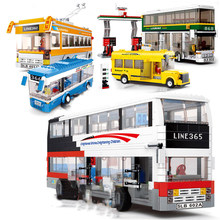 Stad Serie London School Bus Station Sets Cijfers Bouwstenen Kinderen Kids Toys Auto Model Bricks(China)