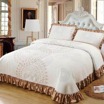 Thick Quilted Cotton Chic Bedspread King Queen size Bed spread Bed cover set Mattress topper Blanket Pillowcase couvre lit