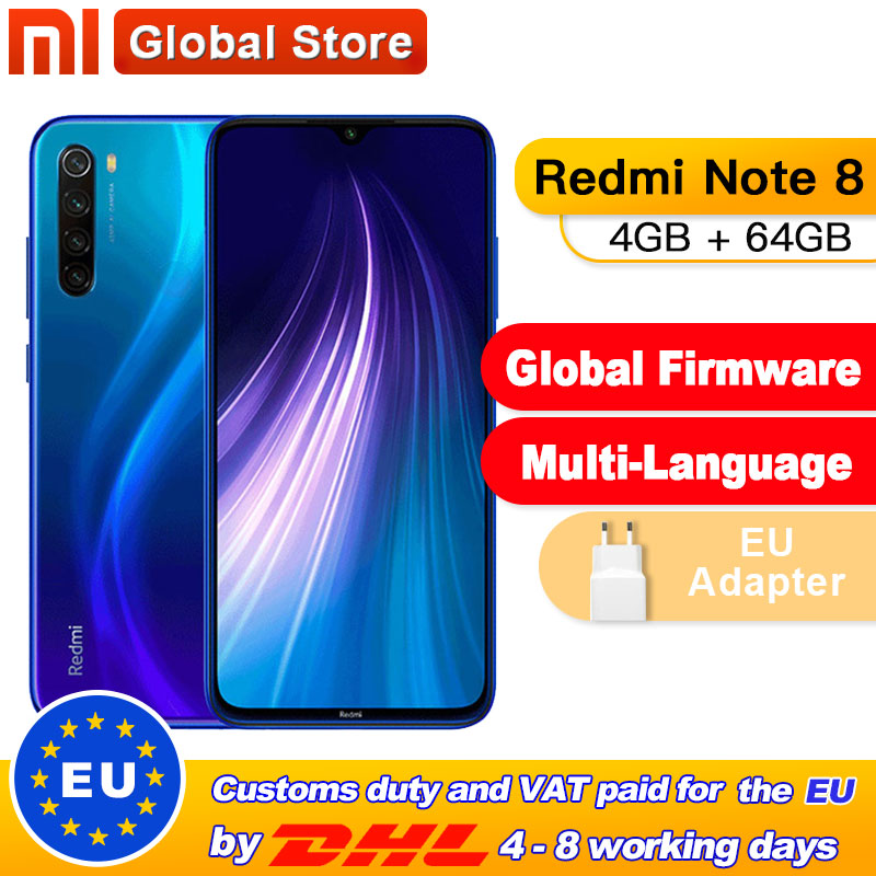 "Global ROM Xiaomi Redmi Note 8 4GB 64GB Snapdragon 665 Octa Core Smartphone 6.3"" 48MP Quad Rear Camera Supports 18W Charger"