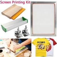 5Pcs/Set Screen Printing Kit Aluminum Frame + Hinge Clamp + Emulsion Scoop Coater + Squeegee Screen Printing Tool Parts 2020 New