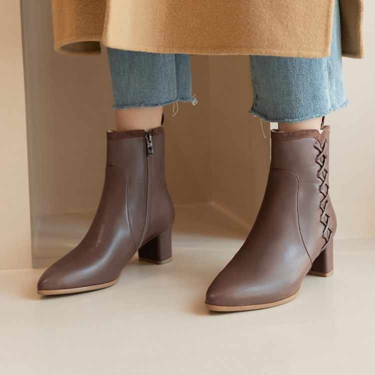 Tamanho grande 9 10 11 12 botas femininas botas de tornozelo para senhoras sapatos mulher inverno cruz cinta guarnição zíper lateral