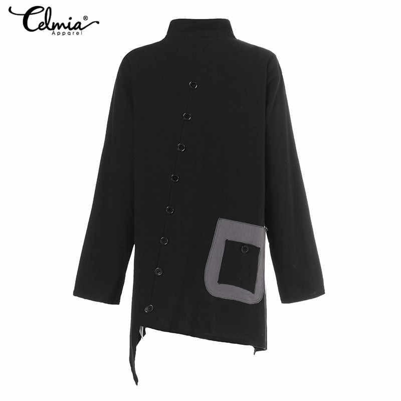 Celmia mulheres blusas de linho de algodão vintage 2020 casual camisas compridas botão irregular topos solto bolsos feministas plus size