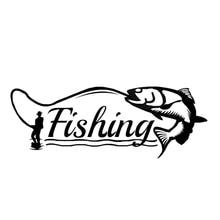 Car Sticker Funny Fish Fishing Hunter Decor Modelling Auto Motorcycle Exterior Accessories Vinyl Decals for Bmw Audi,16cm*6cm недорого