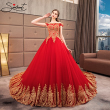 SERMENT Red Luxury Wedding Dress Ball Gown Cathedral Boat Neck Golden Back Lace Up Embroidery Applique Free Custom Made Size(China)