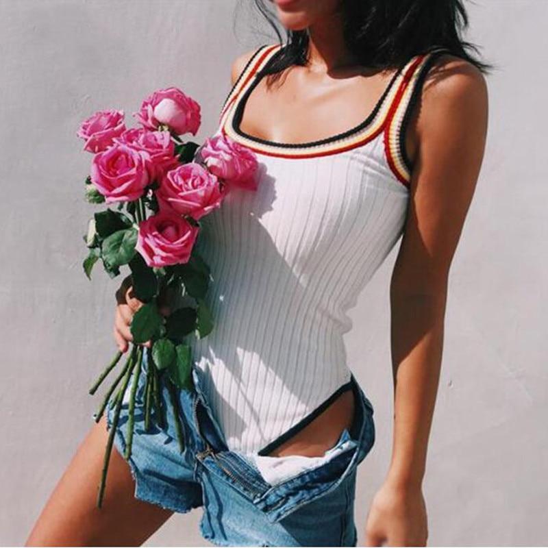 Женский Трикотажный боди с о-вырезом и открытой спинкой, облегающий короткий комбинезон радужного цвета