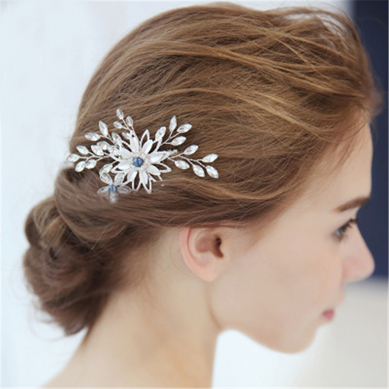 Crystal Flower Bridal Haircombs Ornaments Women's Wedding Jewelry Accessories Handmade Blue Bead Bride Hairdress Leaf Hairpieces