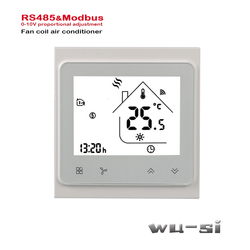 Unidade da bobina do ventilador termostato de aquecimento arrefecimento por Tubos de tubulação 2 4 RS485 Proportioneel 0-10V signaal controle da válvula, 95-240VAC,24VAC opcional