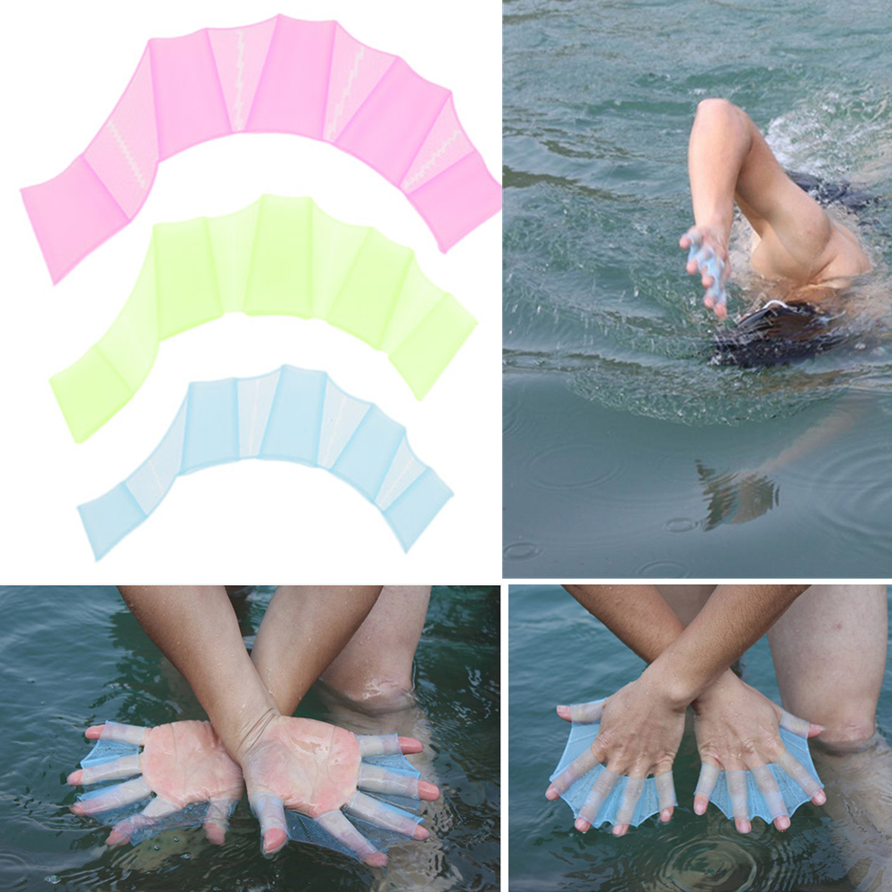 2Pair Unisex Type Silicone Girdles Swimming Hand Fins  Children Swimming Training Webbed Gloves Adult Frog Hand