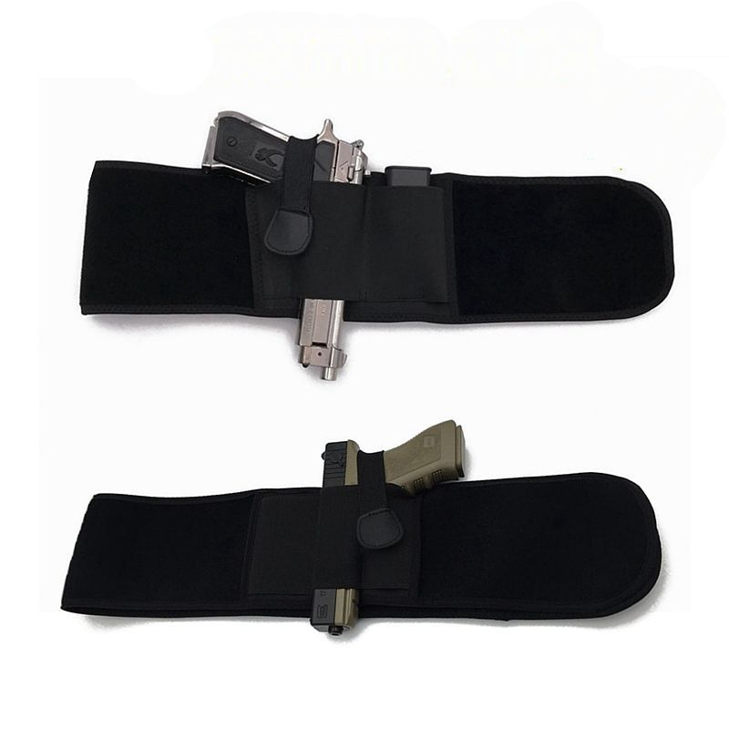Tactical Belly Band Holster Concealed Carry Pistol Gun Pouch Waist Bag Elastic Belt Outdoor Hunting Glock 17 Colt 1911 Beretta