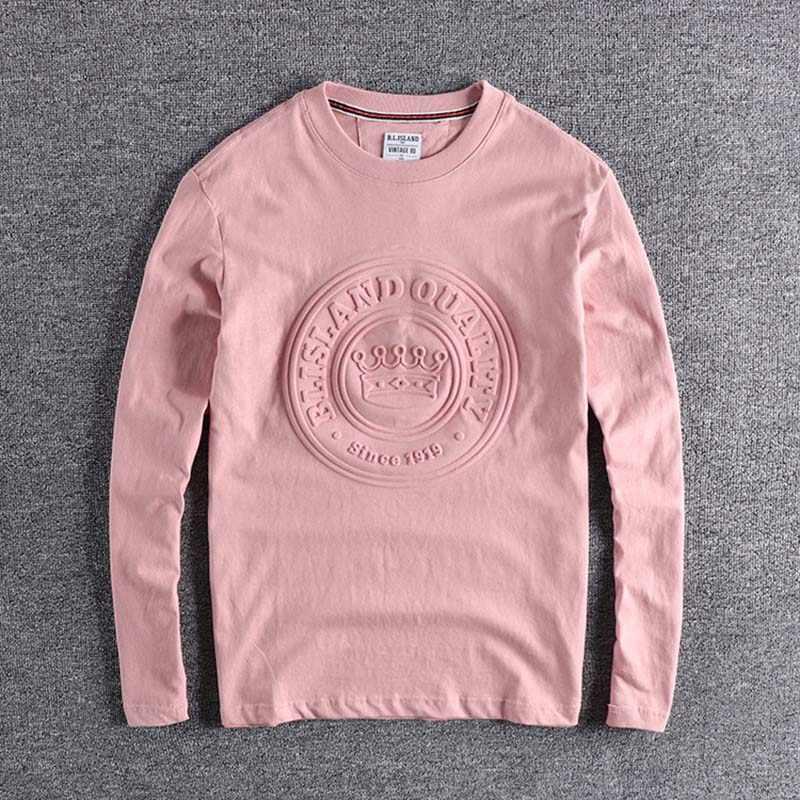 2019 nouveauté cool porter impression lettre hauts T grande taille haute qualité rose couleur t-shirt à manches longues automne designer XL shirs