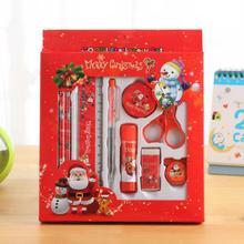 12 Stks/set Stevige Lijm Puntenslijper Liniaal Creative School Balpen Briefpapier Set Potlood Schattige Kinderen Kerstcadeau Hoge Kwaliteit