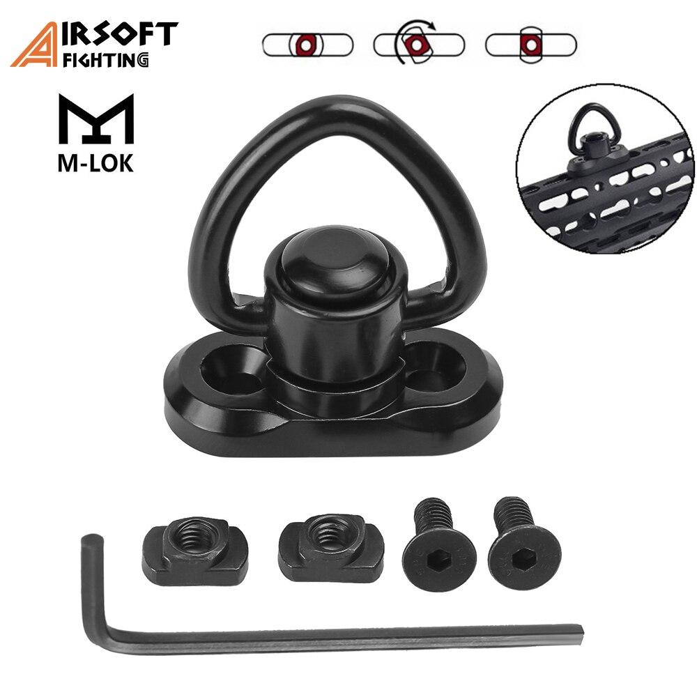 "Tactical M-lok QD Sling Swivel Stud Mount Quick Release Rail Mount Adapter 1.25\"" Loop Heavy Duty Push Button Mlok Rail Swivels"