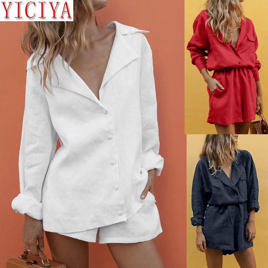 2020 2 Piece Set Women Outfits V Neck Slim Summer Tracksuit Matching Temperament Suit Shorts Suit Long Sleeve Clothes For Woman