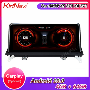 KiriNavi 10.25 Touch Screen Android 10.0 Car Radio For BMW X5 E70 X6 E71 Car Multimedia Player Auto GPS Navigation 4G 2007-2018 image