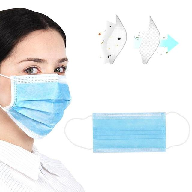 10/100pcs Disposable Mouth Face Masks 3 Layers of Non-woven PM2.5 Dustproof Bacteria Flu Breathable Masks 3