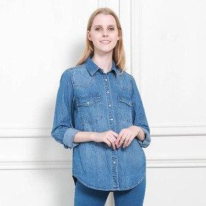 Image 3 - 11.11 סתיו חורף נשים ג ינס חולצה בסיסית רופף מזדמן ארוך שרוול עם 2 כיסי 100% כותנה שטף כחול נשי חולצה למעלה