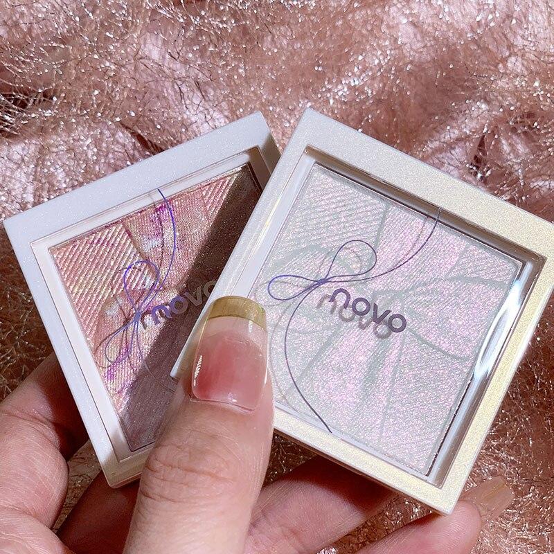Novo bowknot claro highlighter paleta facial iluminador shimmer pó de cozimento em pó de alto brilho rosto cosméticos tslm1