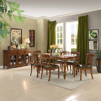 Wooden dining table set with leather chair WA645