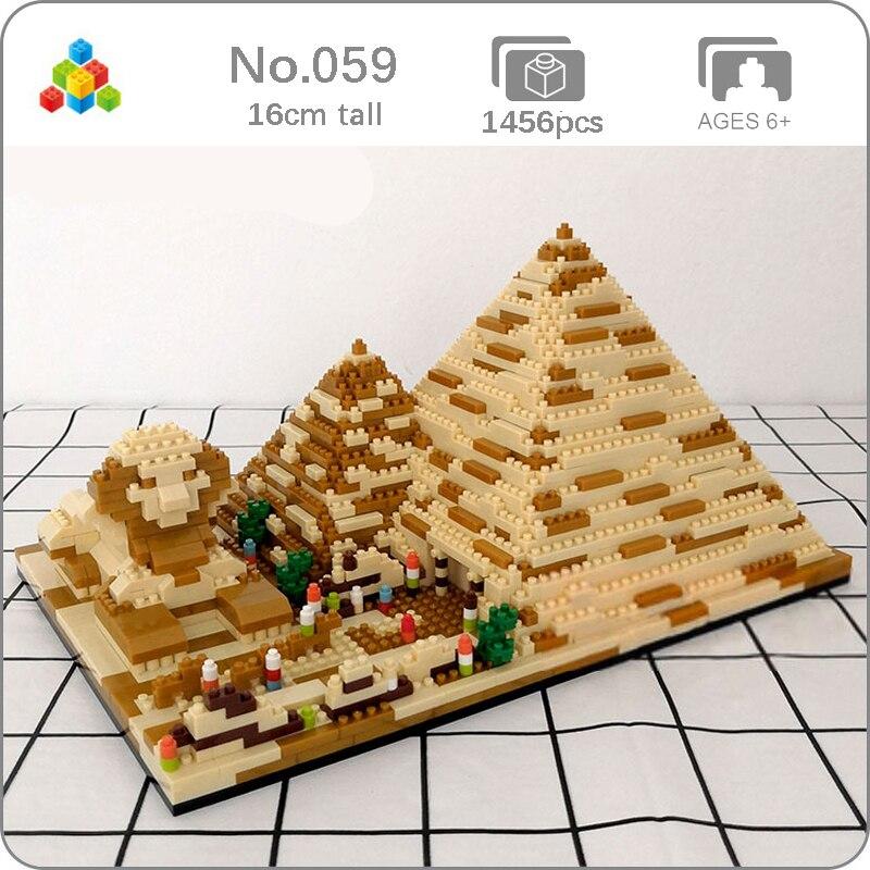 YZ 059 dünyaca ünlü mimari piramitleri mısır altın kule sfenks 3D Model Mini elmas yapı taşları oyuncak çocuklar için hiçbir kutusu