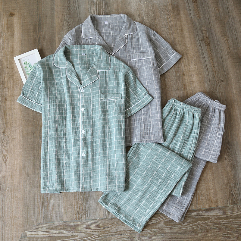 Summer Male Lattice Printing Short-Sleeved Pants Pajamas Thin Crepe Cotton Gauze Mansleepwear Turn-down Collar Pyjamas 2 Piece