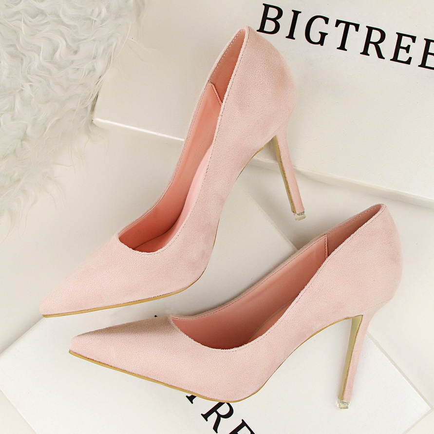 Image 5 - COWCOM 9cm Sexy Point Toe Orange Sexy  Stiletto high heeled Shallow Mouth Pointed Suede Professional OL womens Shoes DS 516 1Womens Pumps   -