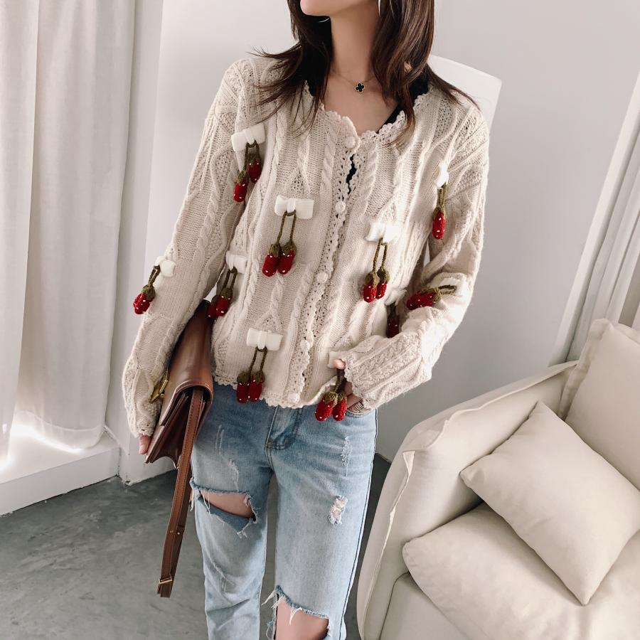 Autumn Women's Three-dimensional Strawberry Handmade Crochet Flower Stitching Loose Long-sleeved Knit Cardigan Sweater Woman