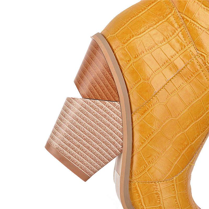 2019 Lüks Sarı Çizmeler Kadın Batı Diz Yüksek Çizmeler Takozlar 10cm Yüksek Topuklu Bayan Tıknaz Striptizci Timsah Bordo Ayakkabı