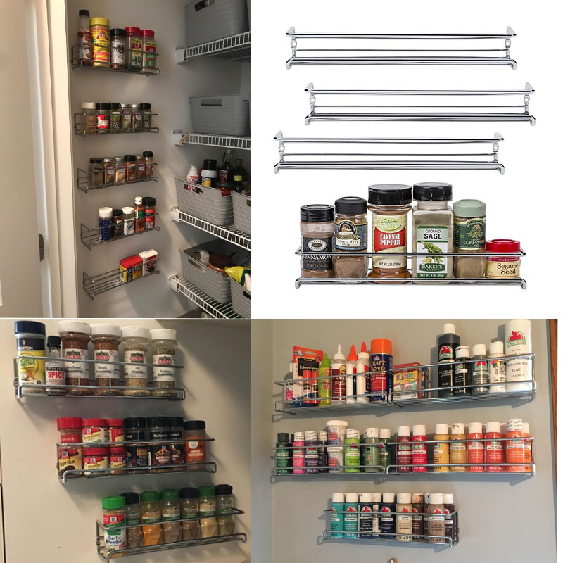 Wall Mount Spice Rack Organizer For Cabinet Spice Shelf  Seasoning Organizer Pantry Door Organizer Spice Storage