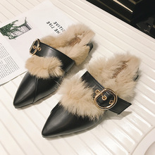 Women Fur Slippers Suede Plush Mule Shoes Retro British Tassel Buckle Loafers Flat Casual Outdoor