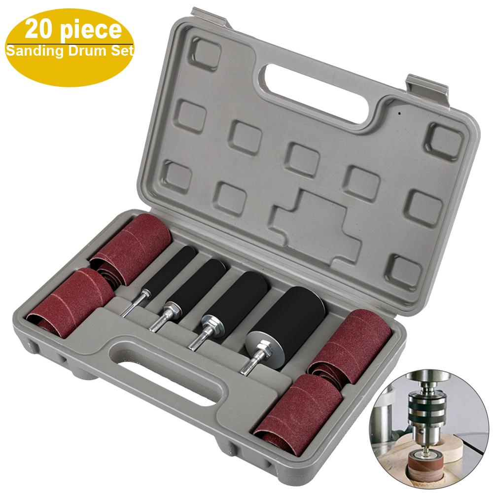 With Storage Box Durable Rubber Abrasive Sleeves Woodworking Metal Polishing Drum Sanding Kit DIY Professional For Drill Press