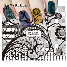 GAM-BELLE 1pc Nail Sticker Black Water Decal Set  Sexy Lace Flower for DIY Slider Tips Styling Tool Nail Decoration Set full beauty 1pc black flower vine nail water sticker leaf lace design slider nail art decal beauty foils decoration chstz645 658