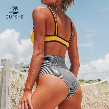 CUPSHE Yellow And Black Stripe High-waisted Bikini Two Pieces Swimwear Women 2020 Girl Beach Bathing Suits 1