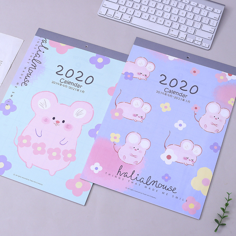 New 2020 Lovely Mouse And Flower Wall Calendar DIY Cartoon Large Calendars Daily Schedule Planner 2019.09~2020.12
